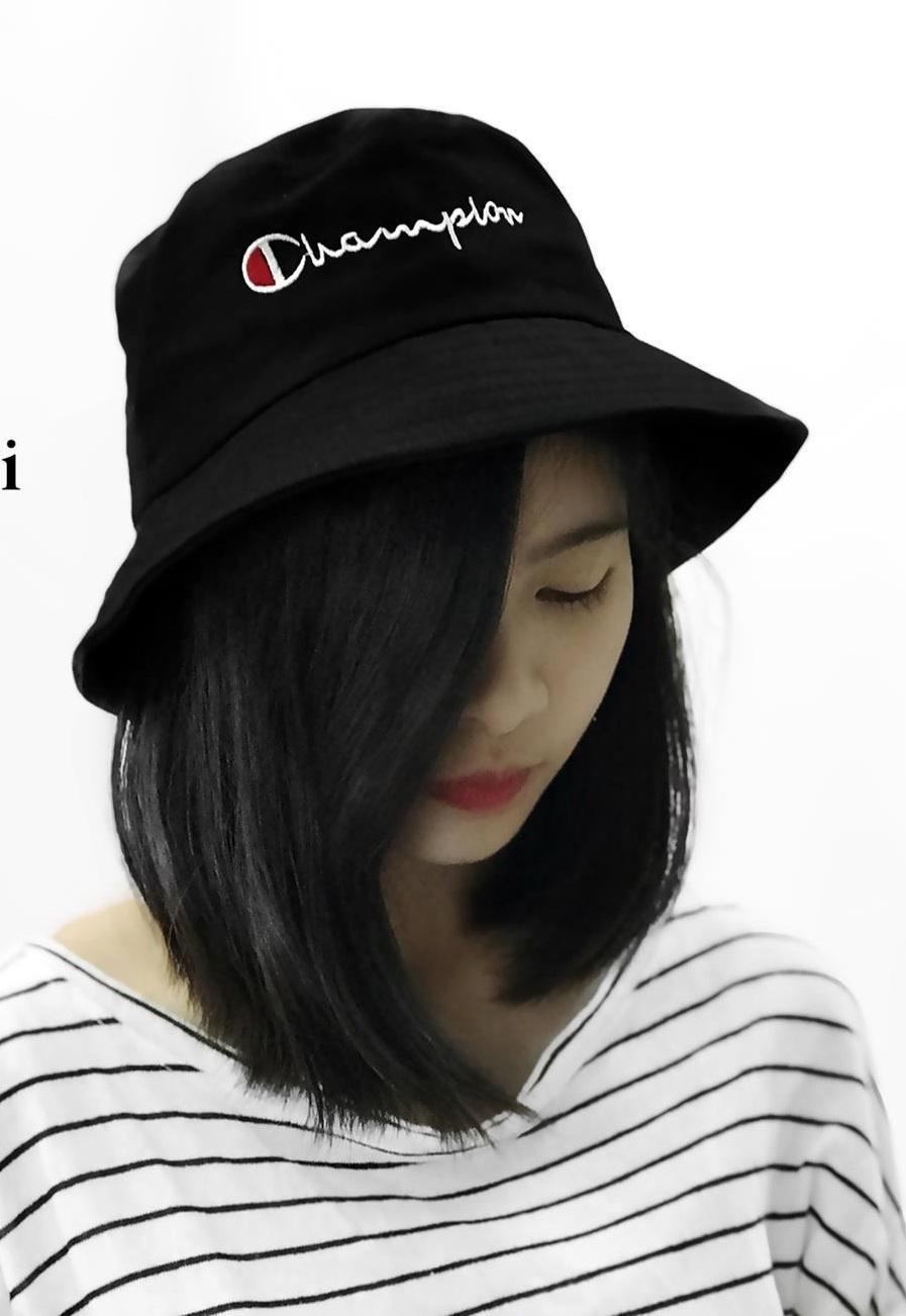 Nón bucket Champion thời trang nam nữ phong cách Hàn Quốc (Đen)