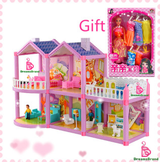 Bộ Nhà Mơ Ước Đồ Chơi Trẻ Em Mô Phỏng Biệt Thự Nhà Búp Bê Kèm Bếp Bê Con Gái - INTL thumbnail