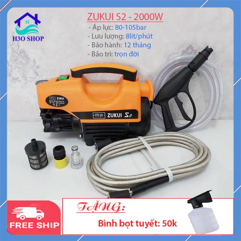 Máy rửa xe Zukui S2 S1 - 2000W - máy rửa xe gia đình, máy rửa xe mini, máy xịt rửa cao áp. Tặng bình bọt tuyết và cây nối dài sung