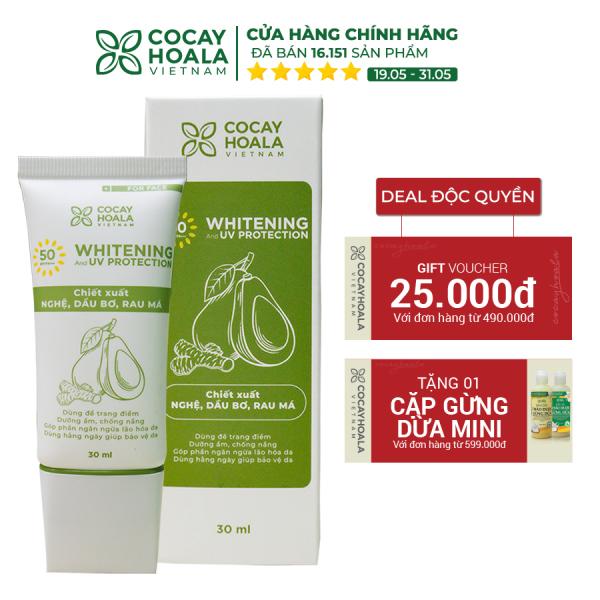 Kem trang điểm chống nắng nâng tone tự nhiên, bảo vệ da mặt, kiềm dầu, dưỡng da se mịn lỗ chân lông, chống ô nhiễm Nghệ Bơ Cocayhoala SPF50/PA+++ 30ml