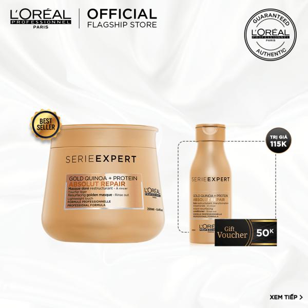 [Tặng Voucher 50k] Dầu hấp nhũ vàng phục hồi hư tổn toàn diện LOréal Professionnel Serie Expert Absolut Repair Gold  250ml
