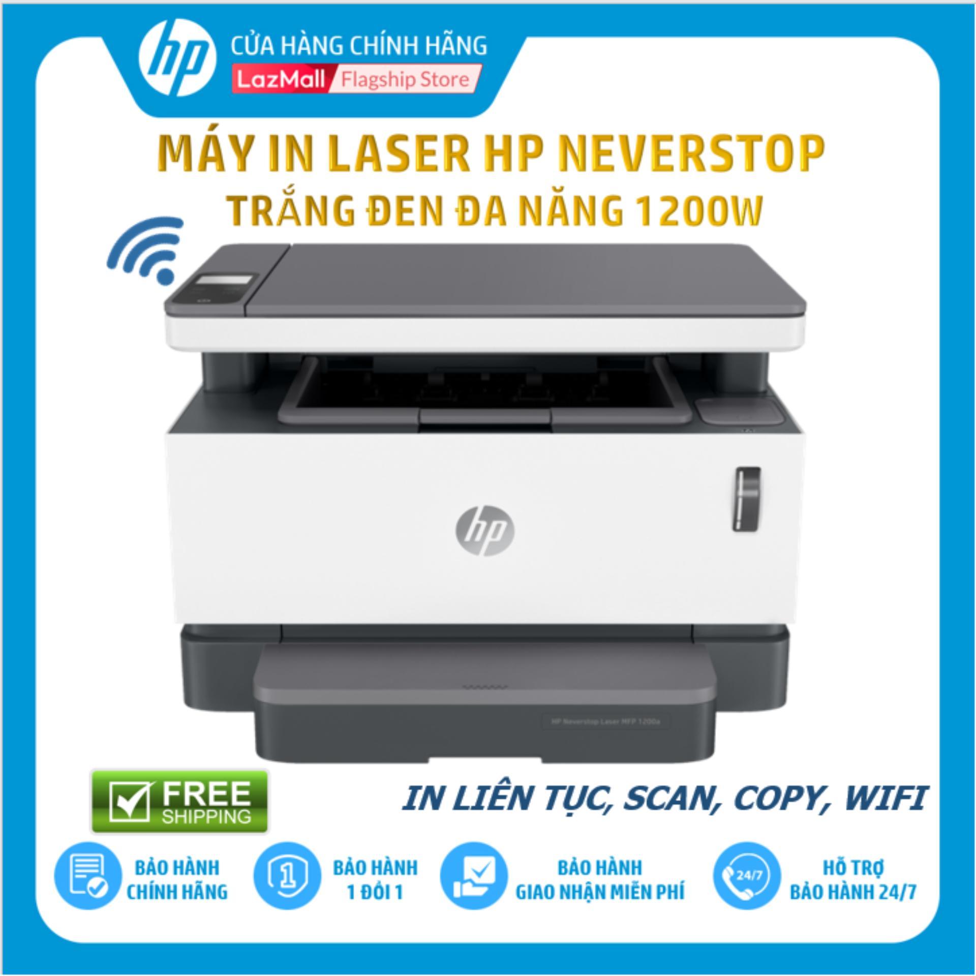 Máy In Laser Trắng Đen Đa Năng HP Neverstop Laser 1200W (In/Copy/Scan/Wifi/Đen-4RY26A) - Hàng Chính Hãng