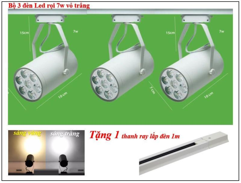 3 bộ đèn rọi led vỏ trắng , sáng trắng ~ vàng + 1 thanh ray 1m