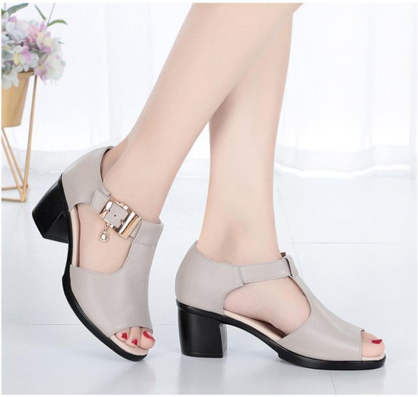 Giày sandal nữ cao gót da mềm , đế êm  S0115 giá rẻ