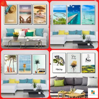 [Voucher-25K] Bộ 3 Bức Tranh Canvas Treo Tường NgocLan - Tranh Treo Tường Phòng Khách Phong Cảnh Biển 3D hiện đại - Tranh Vải Canvas Treo Tường decor phòng khách phòng ngủ cỡ lớn (Tặng kèm đinh) thumbnail