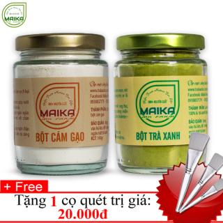 Combo Bô t Trà Xanh + Bột Cám Gạo - Nguyên Châ t MK Farm (100g hũ) + Tặng Cọ Quét thumbnail