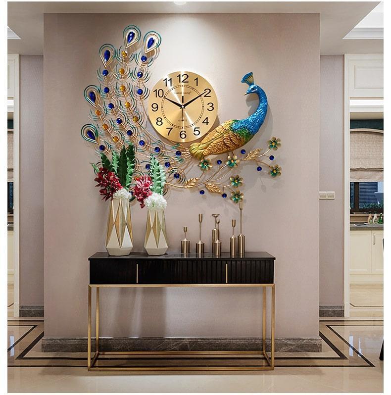 Nơi bán Đồng hồ trang trí,Đồng Hồ Treo Tường , đồng hồ chim công Con Công Đẹp A22- Quà tặng tân gia