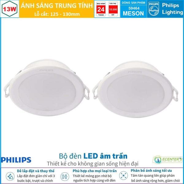 ( Bộ 2 ) Đèn Led Âm Trần 13W Philips Downlight MESON 59464 D125 ( Ánh Sáng Trắng & Trung Tính & Vàng )