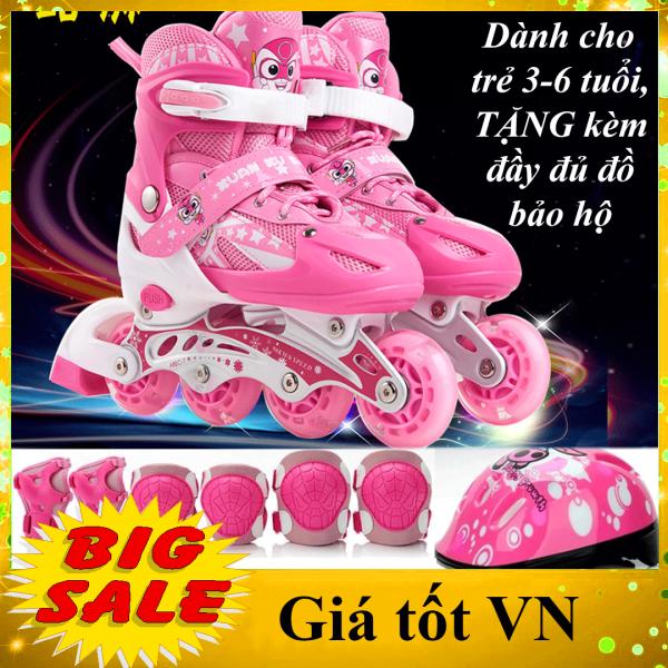 Giá bán [TẶNG KÈM MŨ, ĐỒ BẢO HỘ - MÀU HỒNG DÀNH CHO BÉ 3-6 TUỔI] Giày patin, giày trượt patin trẻ em, giày patin 4 bánh màu Hồng, bánh xe trượt phát sáng + Tặng bộ bảo hộ an toàn