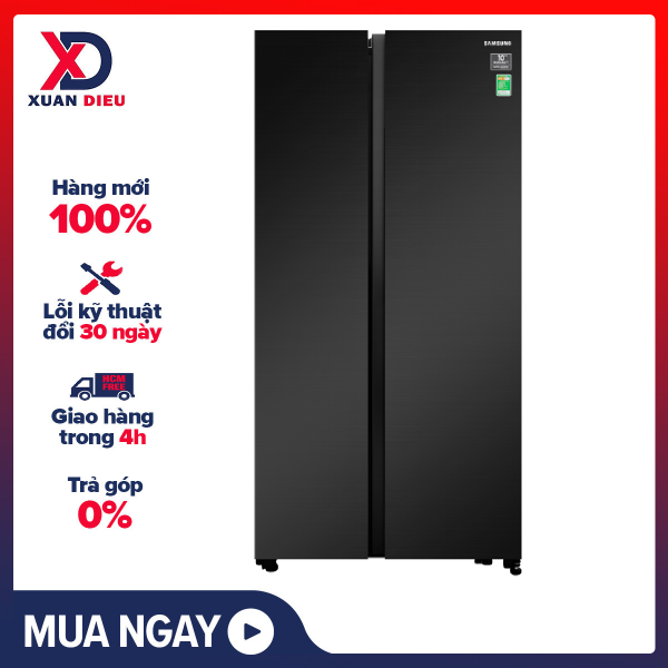 [HCM][Trả góp 0%]Tủ lạnh Samsung Inverter 647 lít RS62R5001B4/SV - Inverter tiết kiệm điện Ngăn đá lớn Chuông báo cửa mở. Công nghệ làm lạnh vòm. Bộ lọc khử mùi than hoạt tính. chính hãng