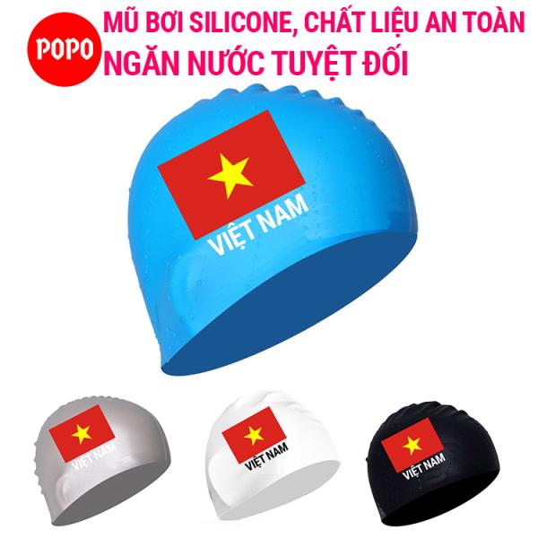 Mũ bơi người lớn, nón bơi người lớn in Cờ Việt Nam POPO CA40 mũ bơi nam, mũ bơi nữ chất liệu silicone an toàn, mũ bơi ngăn nước