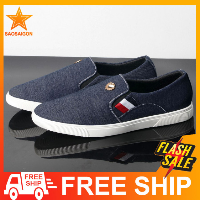 Giày lười vải nam đen đế trắng lót chân siêu êm đế chống trơn trượt SG361 Saosaigon giá rẻ