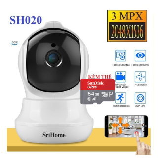 (Bảo hành 5 năm - Tùy chọn kèm thẻ nhớ 128 GB) CAMERA GIÁM SÁT KHÔNG WIFI - CAMERA SRIHOME SH020 - 3.0 MP Full HD 1080p - Camera IP Wifi giám sát quan sát không dây hình ảnh siêu nét bắt sóng wifi cực tốt - L thumbnail