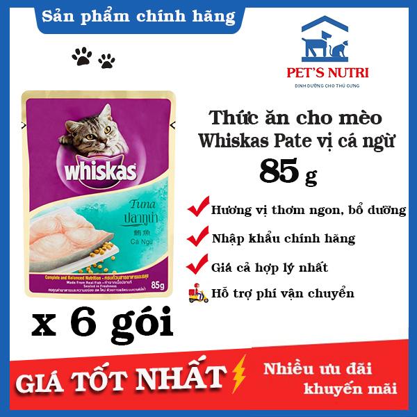 [6 gói]Thức ăn cho mèo lớn vị cá ngừ Whiskas Pate Vị cá ngừ (Tuna) 85g