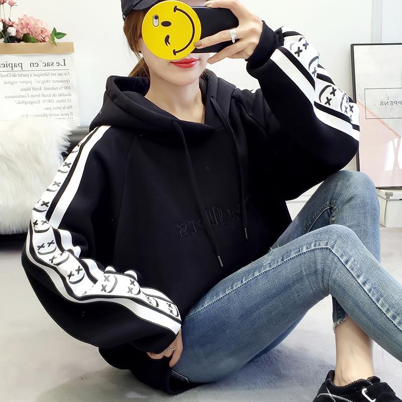 Musim dingin Hoodie bertali hoodie wanita netral tambah beludru lebih tebal huruf bordir longgar ukuran besar