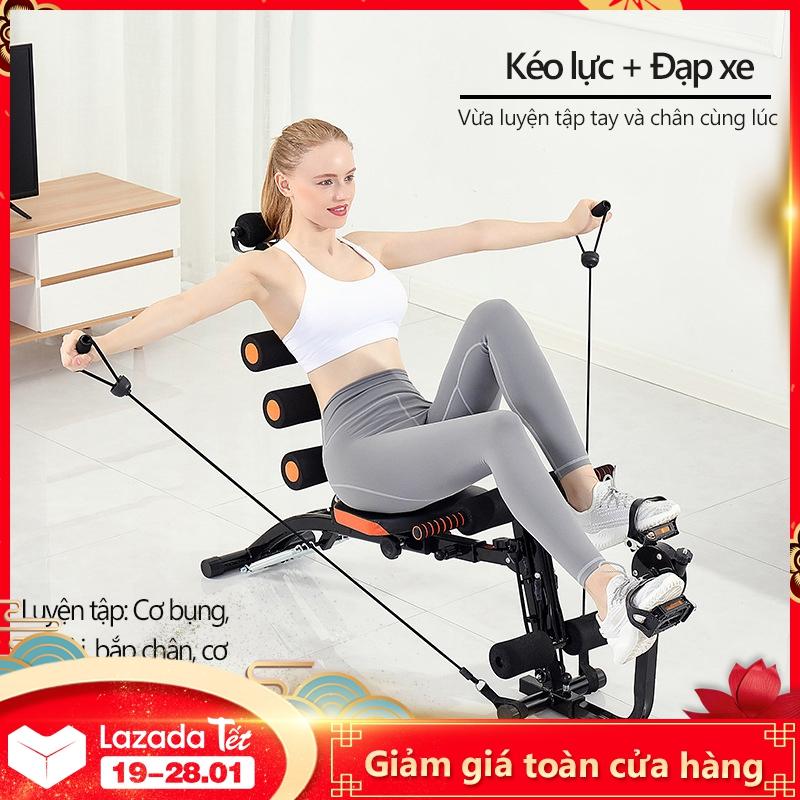 Máy tập gym máy gập bụng 6 trong 1 đa năng máy tập thể thao tại nhà tập gọn bụng thon eo có bàn đạp xe có dây kéo tập bắp tay Keep Going Max
