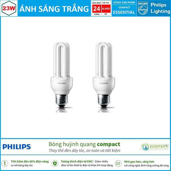 ( Bộ 2 ) Bóng đèn Compact Philips Essential 23W CDL E27 ( Ánh sáng trắng & vàng )