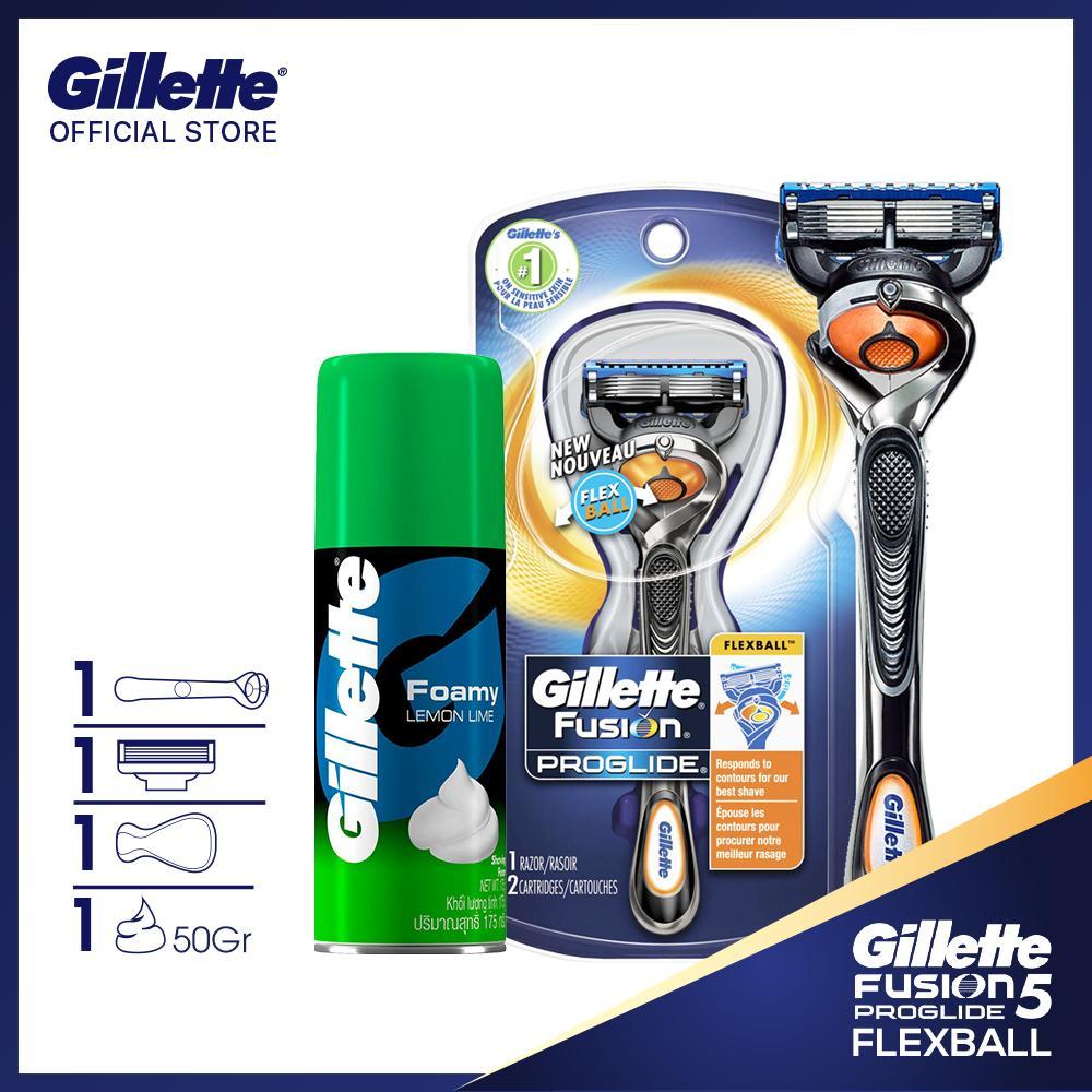 Dao cạo râu Gillette Fusion5 Proglide Flexball và bọt cạo râu Gillette Hương Chanh 50Gr chính hãng