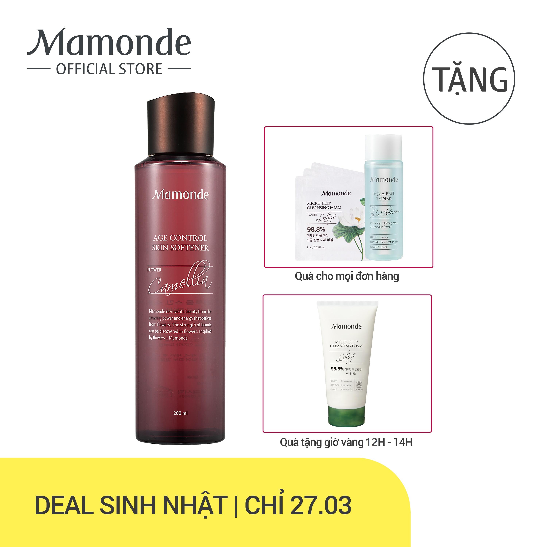 Nước cân bằng dưỡng ẩm ngăn ngừa lão hóa da sớm Mamonde Age Control Skin Softener 200ml nhập khẩu