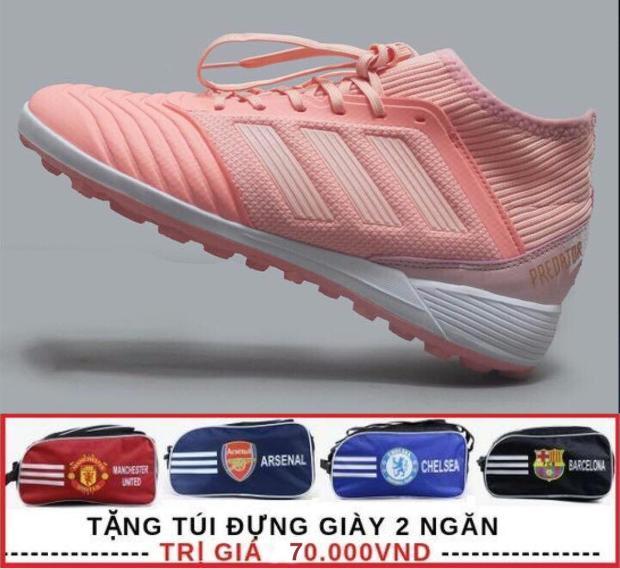 Giày đá banh Predator màu hồng X18.3 cao cổ - Da mềm - Nhẹ - Tặng túi đựng giày 2 ngăn ( màu ngẫu nhiên ) giá rẻ