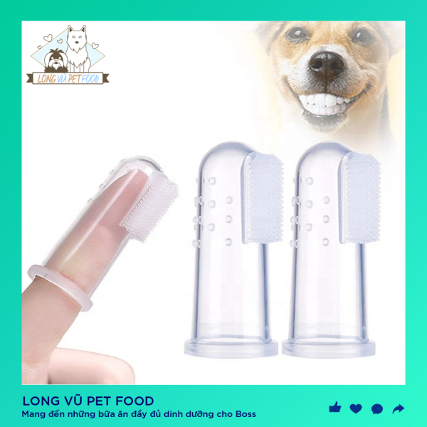 Rơ lưỡi Silicon xỏ ngón đánh răng - Long Vũ Pet Food