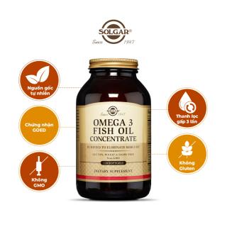 [Lỗi tem nhãn - Defect Label] Dầu cá Omega 3 - Fish Oil Concentrate Solgar - Viên uống bổ não, sáng mắt, tăng cường trí nhớ, hỗ trợ tim mạch [Lọ 120 Viên] thumbnail