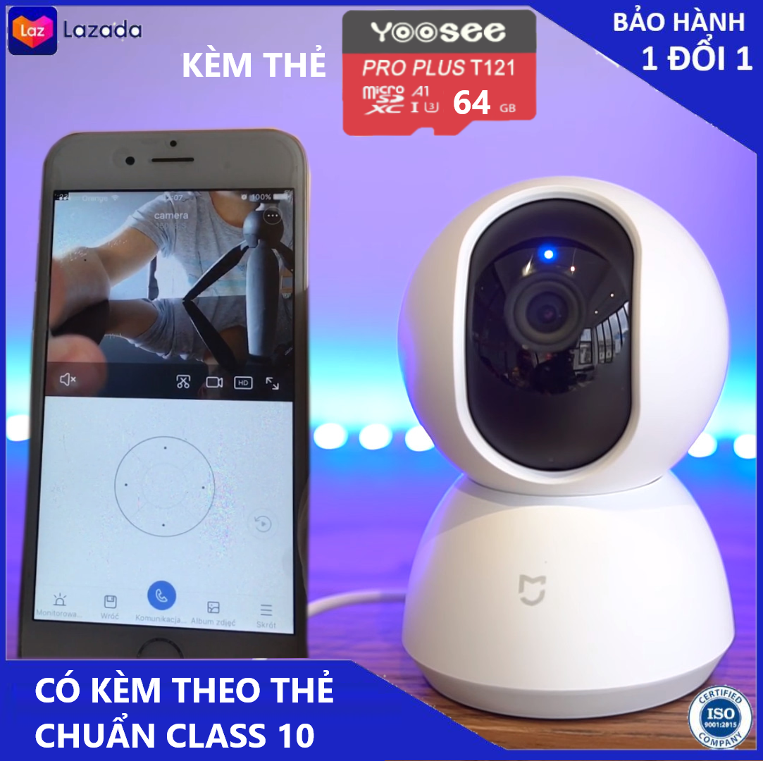 Camera - Camera wifi - Camera xiaomi 360 độ Tặng củ nguồn, kèm thẻ nhớ 64 gb hiển thị 2.0 mpx có cảnh báo chuyển động về điện thoại, bảo hành 3 năm 1 đổi 1 trong 7 ngày