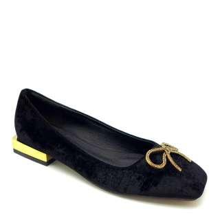 Giày búp bê nữ da lộn gót kim loại đính nơ lấp lánh CARLORINO