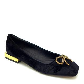 Giày búp bê nữ da lộn gót kim loại đính nơ lấp lánh CARLORINO thumbnail