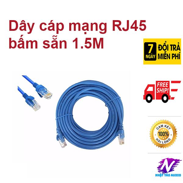 Bảng giá Dây Cáp Mạng Lan wifi Internet Bấm Sẵn 2 Đầu RJ45 dài 1,5M màu xanh giá rẻ Phong Vũ