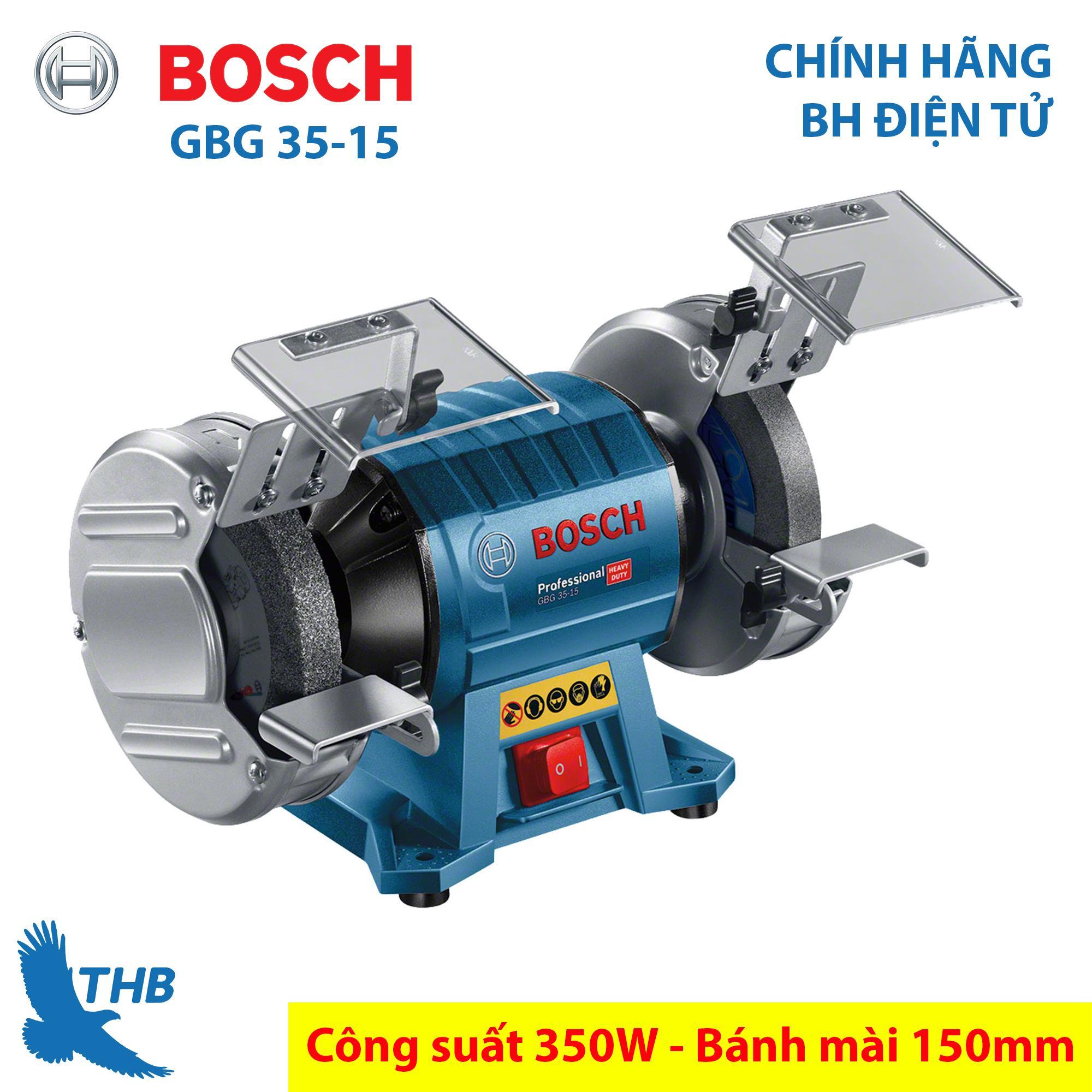 Máy mài để bàn 2 đá Bosch GBG 35-15 Công suất 350W Bánh mài 150mm Bảo hành điện tử 12 tháng