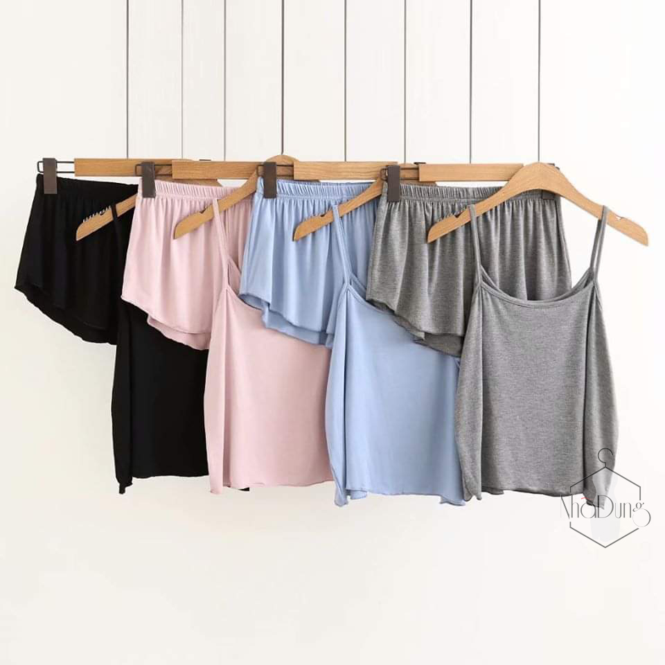 Đồ ngủ nữ thun lạnh cotton lụa 4 chiều hai dây mặc mát cho nữ loại 1 siêu xịn siêu rẻ từ 40-70kg
