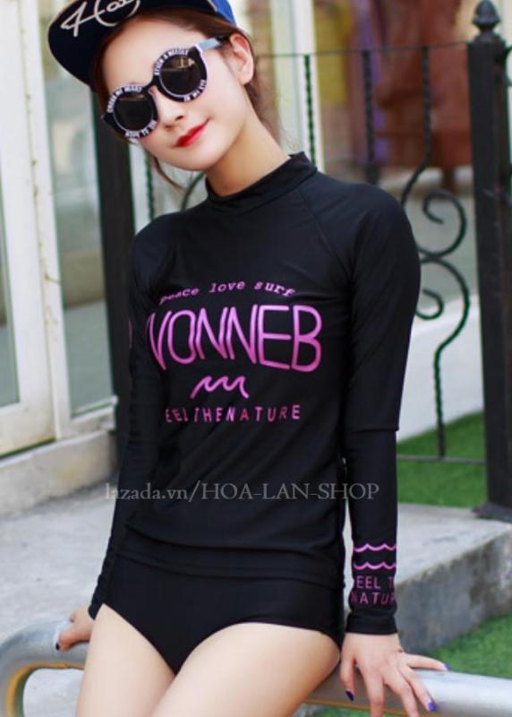 Nơi bán Áo Tắm Tay Dài Kiểu Hàn Hoa Lan HLAT061 (Đen)