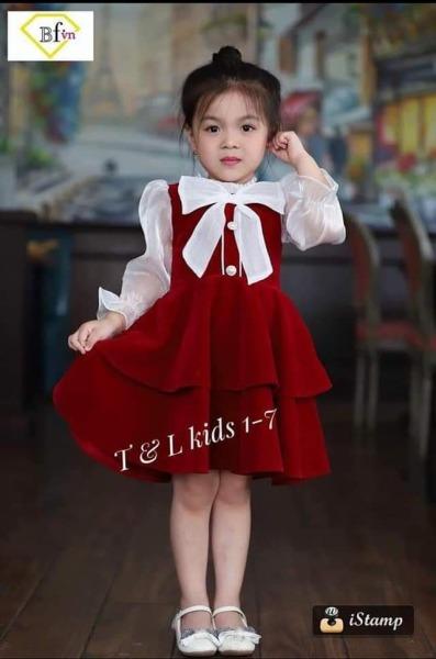 Váy Nhung TẾT cho bé gái từ 10-25kg