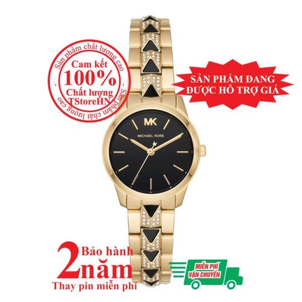 Đồng hồ nữ MK Petite Mercer MK6672 - Vỏ và dây màu Vàng (Gold), mặt đồng hồ màu đen, dây nạm đá pha lê Swarovski, size 28mm - Model no: MK6672
