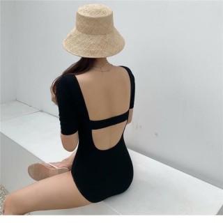 Bikini liền mảnh cổ vuông, tay ngắn khoét lưng DÂY NGANG sành điệu thumbnail