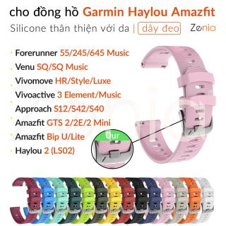 Zenia Dây đeo đồng hồ silicon chiều rộng 20mm cho Garmin Forerunner 55 645 245 Music Vivomove Style Luxe HR Approach S12 S40 S42 D2 Air Vivoactive 3 Element Venu SQ cho Đồng hồ thông minh Haylou 2 LS02 Amazfit Bip Lite S GTS GTR 2E Mini U Pro 42mm Watch thumbnail