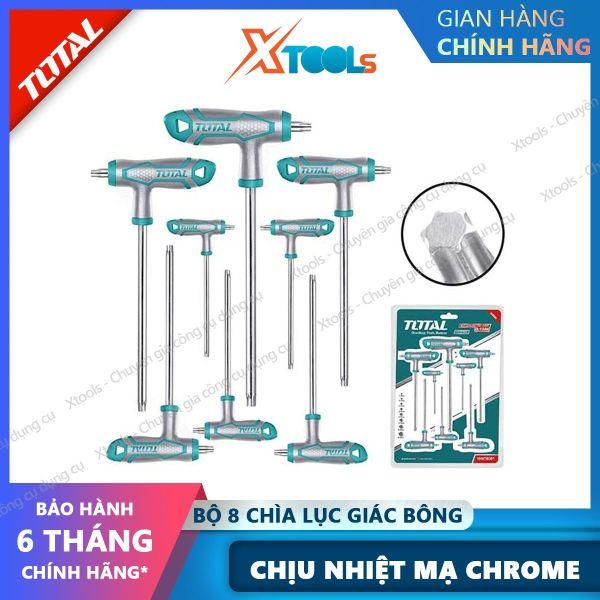Bộ 8 chìa lục giác bông tay cầm chữ T TOTAL THHW8083 chịu nhiệt Lục giác Chất liệu Cr-V,có tay cầm thiết kế kiểu mới, mạ Crom [XTOOLs] [XSAFE]