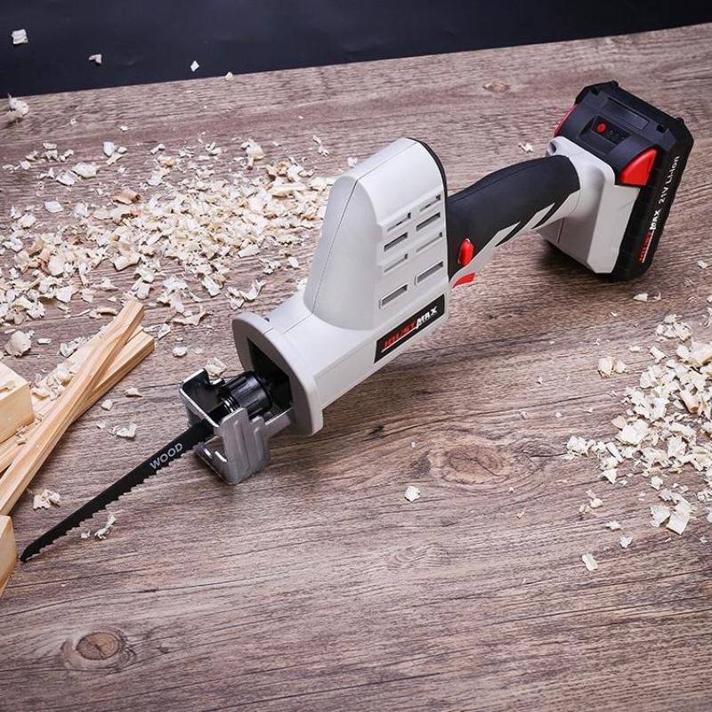 Máy cưa cầm tay không dây Li-Ion 21V cầm tay Máy cưa kim loại bằng gỗ Công cụ cắt W / 2 Lưỡi dao