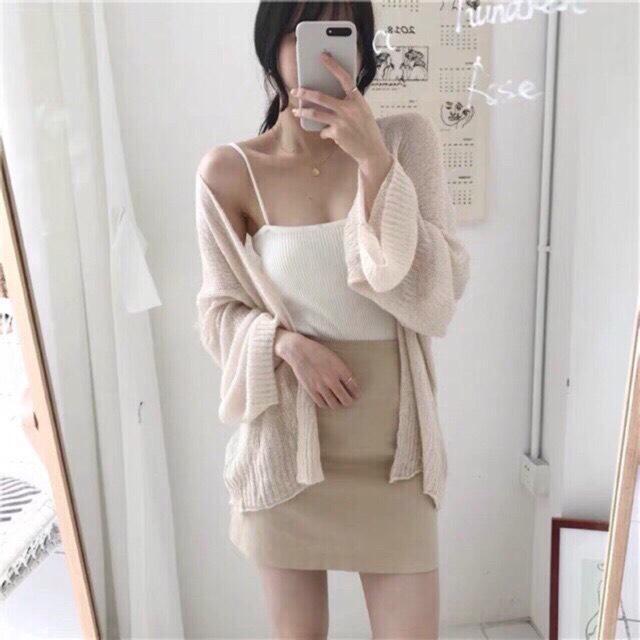[HÀNG THU ĐÔNG] Áo khoác cardigan nữ mỏng nhẹ dáng freesize, tay áo rộng chất len dệt mặc cực xinh đáng yêu