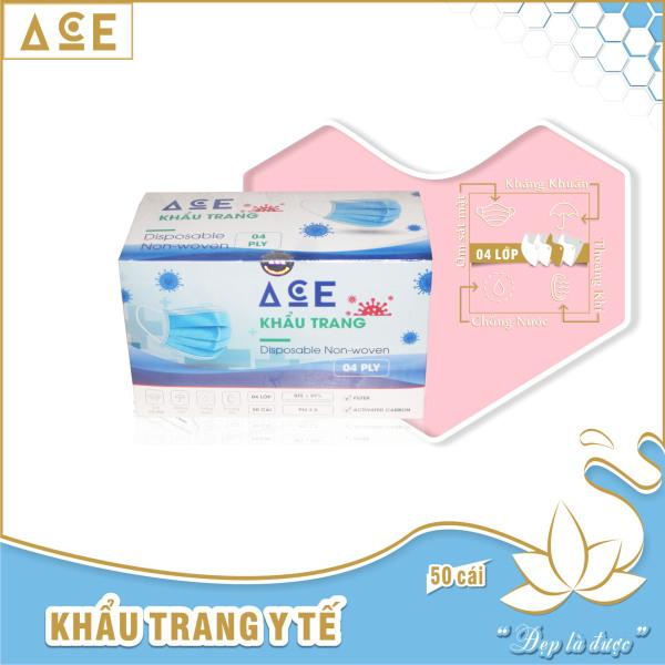 Khẩu trang ACE 4 lớp kháng khuẩn hộp 50 cái, chống bụi, ngăn giọt bắn, phòng bệnh, ngừa virus