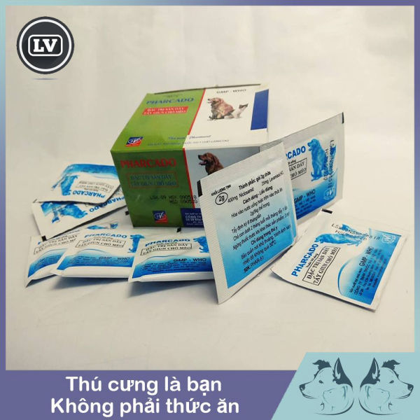 Thuốc tẩy giun dạng bột Pharcado cho chó mèo - túi 4 gói