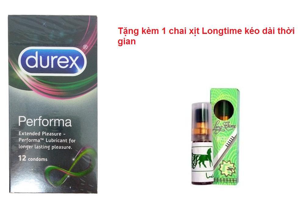 [Mua 1 tặng 1] Hộp bao cao su Durex Performa 12 cái tặng chai xịt longtime
