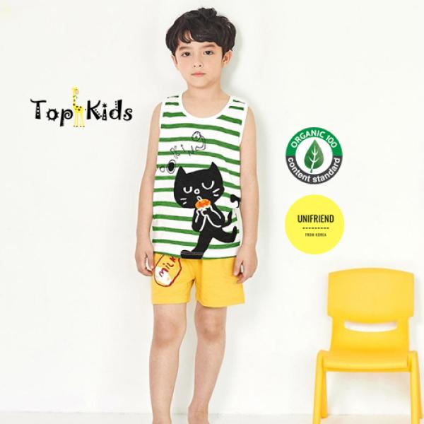 Nơi bán Bộ ba lỗ bé trai/ bé gái dũng sĩ mèo đen thương hiệu Unifriend Hàn Quốc, hàng chính hãng , 100% sợi Organic Cotton , mềm mại, thoáng mát, TOPKID