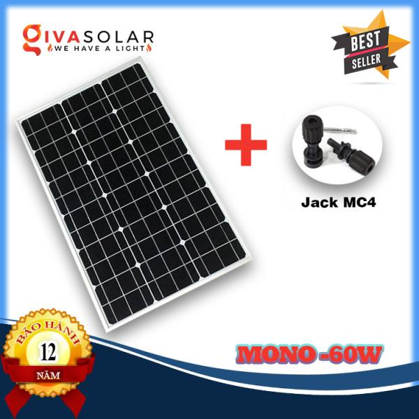 Tấm Pin thu năng lượng mặt trời GIVASOLAR Mono MSP-60W (Tặng Jack MC4)