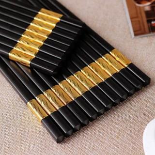 Bộ 10 Đôi Đũa Khảm Vàng Phong Cách Nhật Bản - đũa sừng hợp kim viền vàng chống móc chống trơn - Đũa khảm vàng cao cấp - Đồ dùng phòng ăn - Phụ kiện bàn ăn - Đũa kim loại - Đũa ăn cao cấp thumbnail