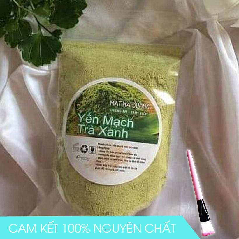 Combo Bột yến mạch trà xanh đắp mặt nguyên chất 100% gói 100g + Cọ quét mặt nạ nhập khẩu