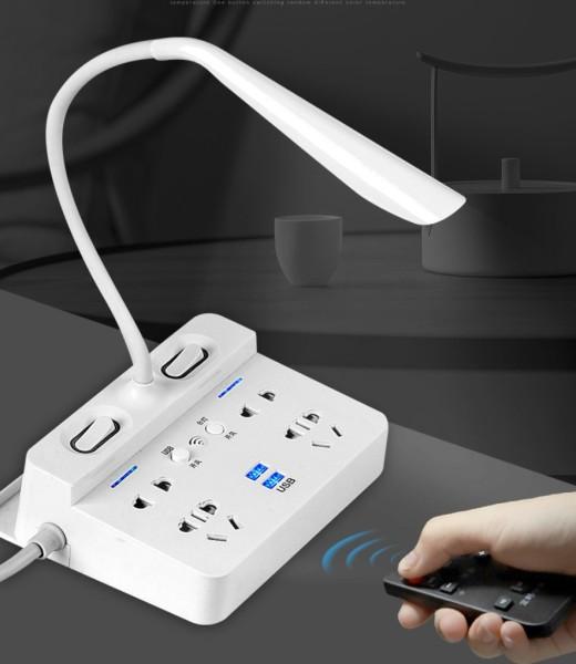 [Nhập ELMAY21 giảm 10% tối đa 200k đơn từ 99k]Ổ cắm điện thông minh 2 ổ cắm 2 chấu 2 ổ 3 chấu và 2 ổ sạc USB kiêm đèn ngủ LED có remote cao cấp