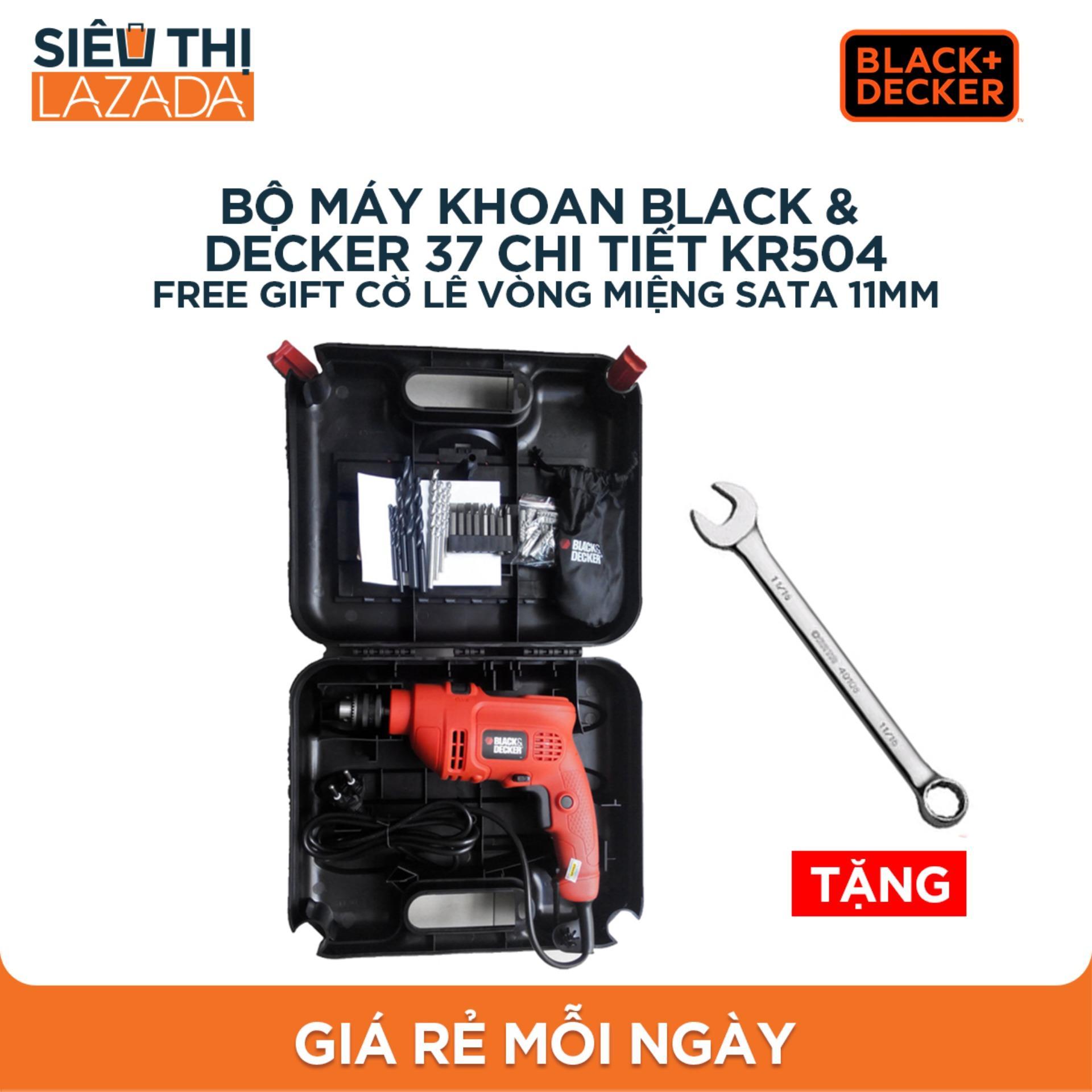 Bộ máy khoan Black & Decker 37 chi tiết KR504 + free gift cờ lêvòng miệng SATA 11mm