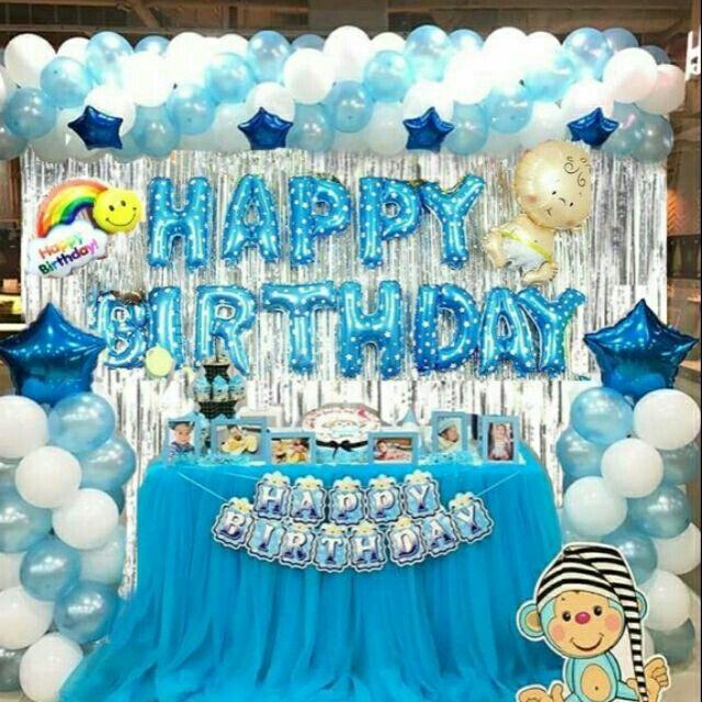 Combo Trang Trí Sinh Nhật 2 Rèm Kim Tuyến, Bóng Chữ Happy Birthday Và 50 Bóng Tròn+  Bóng Sao+ Bóng Em Bé (Tặng Bơm + Keo Dán) Giá Rẻ Bất Ngờ